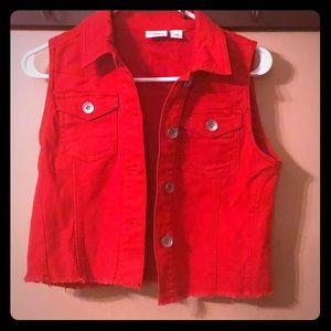 Red Jean Jacket Vest. Never worn.